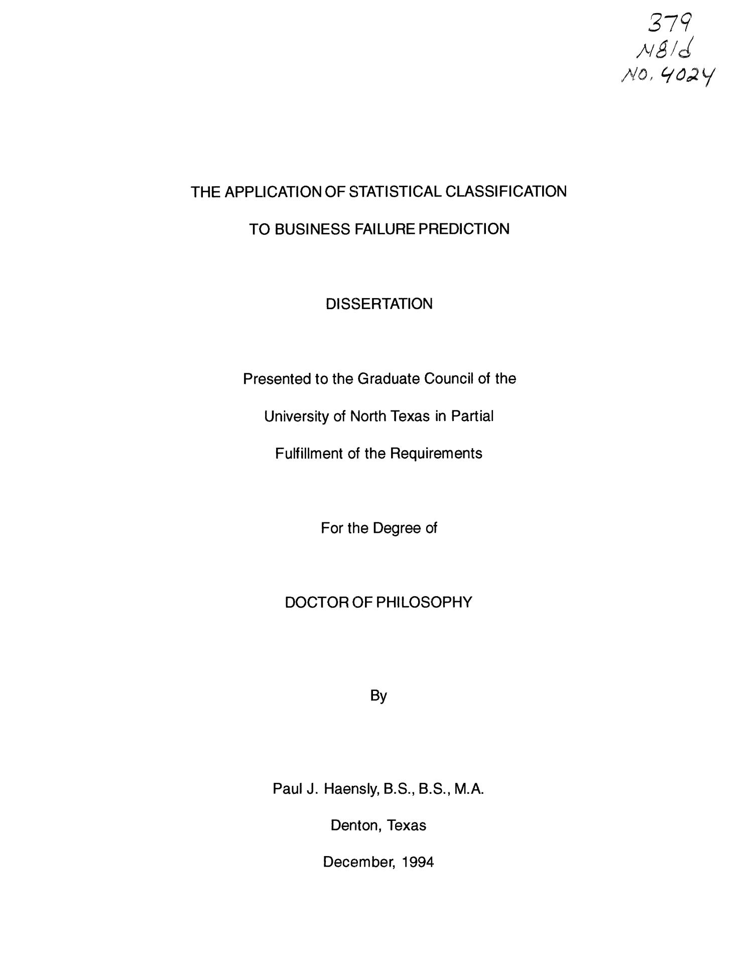 The Application of Statistical Classification to Business Failure Prediction                                                                                                      Title Page