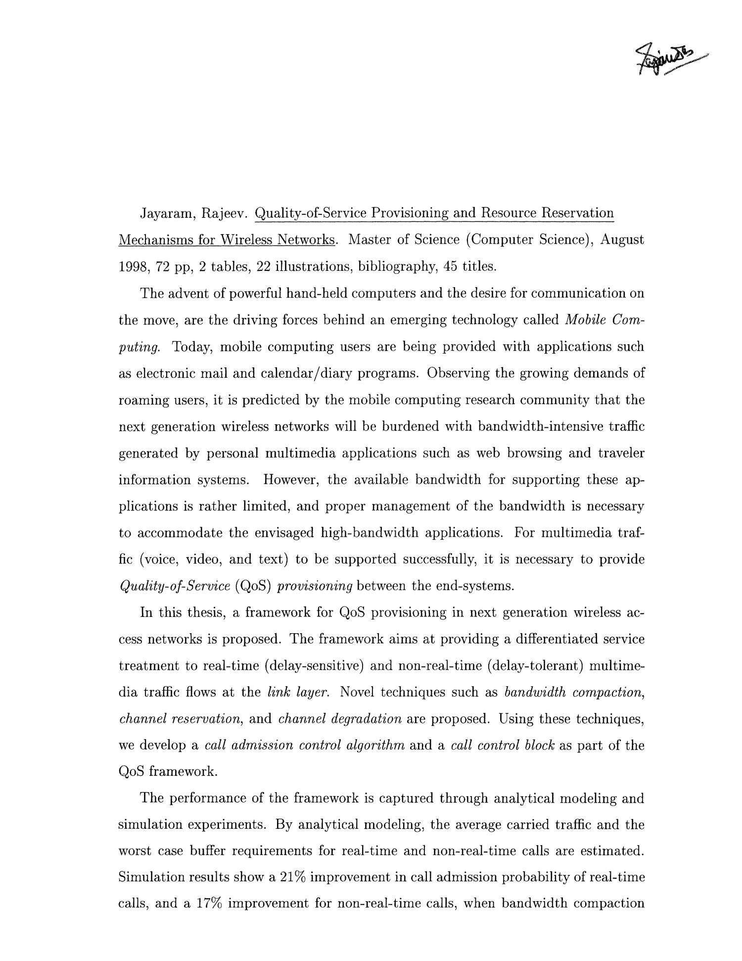 Quality-of-Service Provisioning and Resource Reservation Mechanisms for Mobile Wireless Networks                                                                                                      None