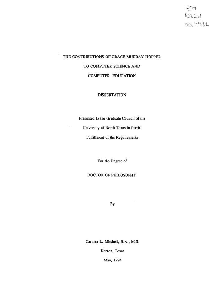 Computer Science Dissertation