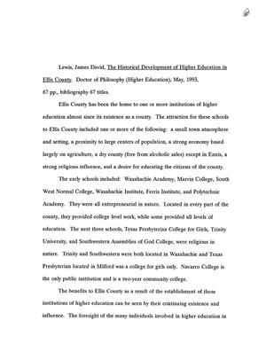 Primary view of object titled 'The Historical Development of Higher Education in Ellis County'.
