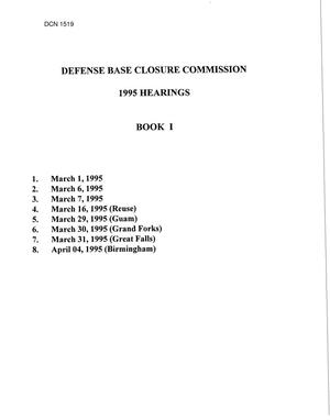 Primary view of object titled '1995 Hearings - DoD Guam, Grand Forks, Great Falls, Birmingham'.