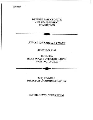 Primary view of object titled 'Final Deliberations, Interagency Issues, June 1995'.