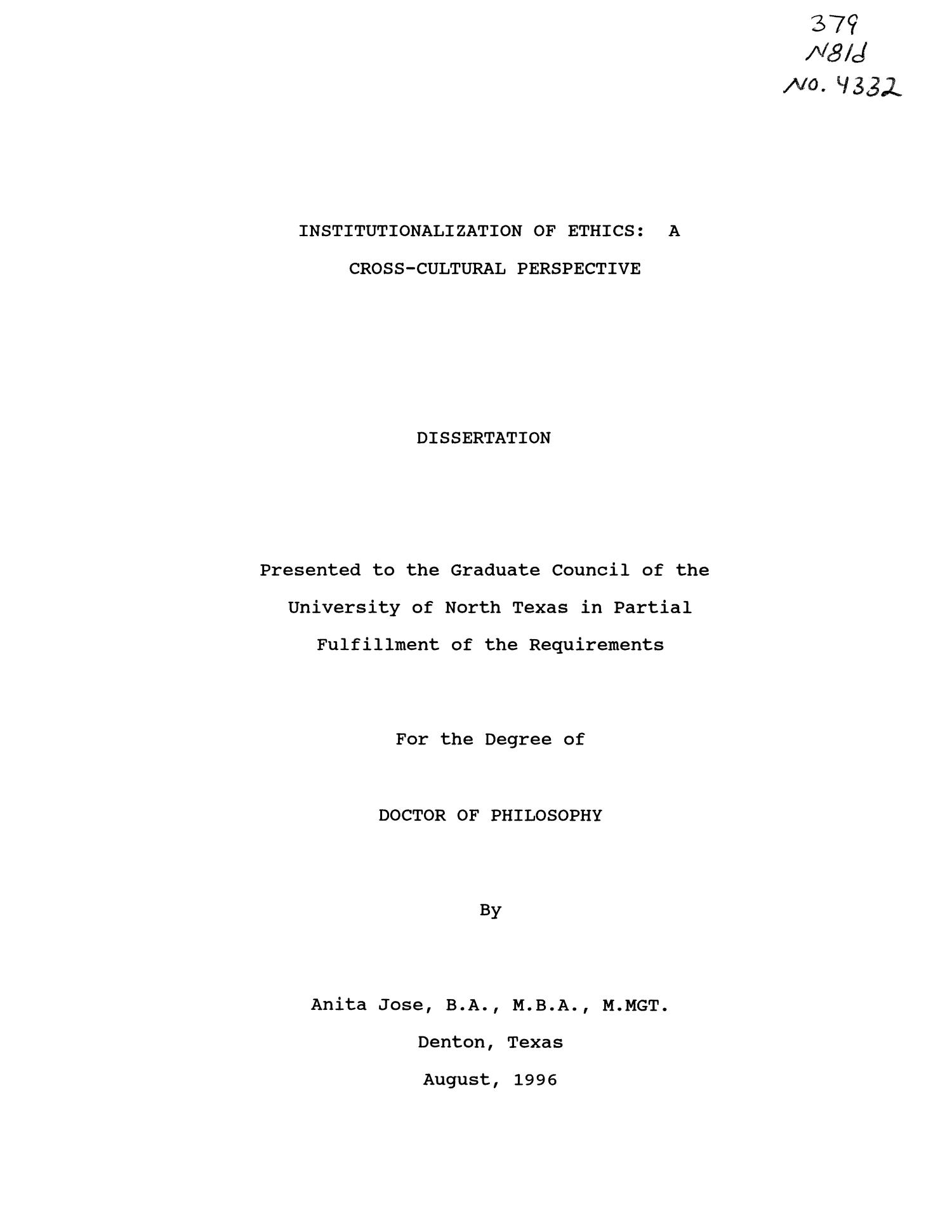 Institutionalization of Ethics: a Cross-Cultural Perspective                                                                                                      Title Page