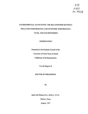 Primary view of object titled 'Environmental Accounting: The Relationship Between Pollution Performance and Economic Performance in Oil and Gas Refineries'.