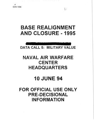 Primary view of object titled 'Navy - Air War Center Headquarters - Data Call June 10, 1994'.