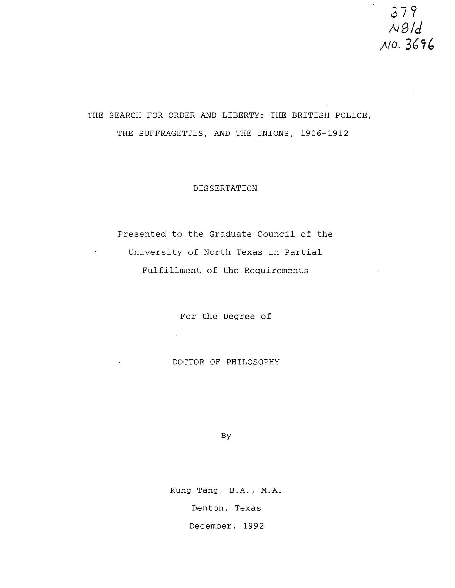 Public order policing dissertation