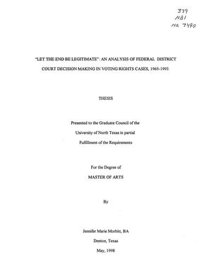 New Federal Court Decision Should Be >> Let The End Be Legitimate An Analysis Of Federal District Court