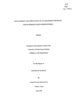 Primary view of object titled 'Development and Application of an Assessment Protocol for Watershed Based Biomonitoring'.