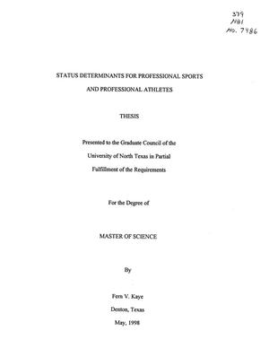 Primary view of object titled 'Status Determinants for Professional Sports and Professional Athletes'.