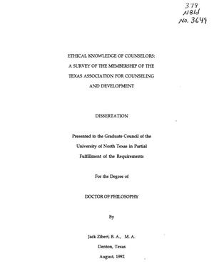 Primary view of object titled 'Ethical Knowledge of Counselors: A Survey of the Membership of the Texas Association for Counseling and Development'.