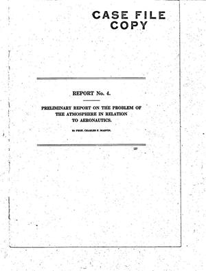 Primary view of object titled 'Preliminary report on the problem of the atmosphere in relation to aeronautics'.