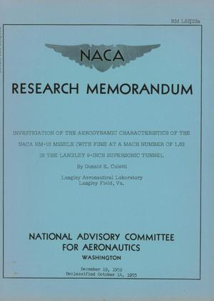Primary view of object titled 'Investigation of the aerodynamic characteristics of the NACA RM-10 missile (with fins) at a Mach number of 1.62 in the Langley 9-inch supersonic tunnel'.