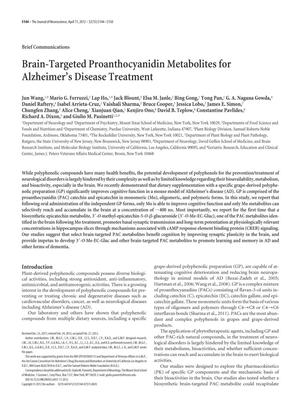 Primary view of object titled 'Brain-Targeted Proanthocyanidin Metabolites for Alzheimer's Disease Treatment'.