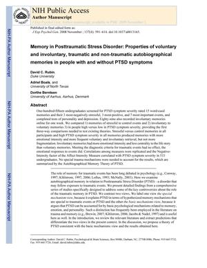 Primary view of object titled 'Memory in Posttraumatic Stress Disorder: Properties of voluntary and involuntary, traumatic and non-traumatic autobiographical memories in people with and without PTSD symptoms'.