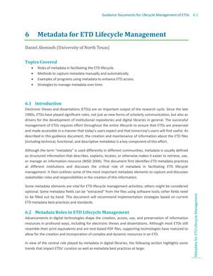 Primary view of object titled 'Metadata for ETD Lifecycle Management'.