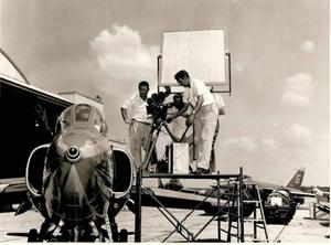 Primary view of object titled '[On location filming of The Blue Angels, 1958]'.