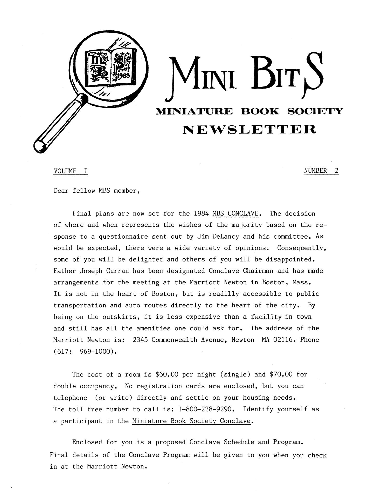 Miniature Book Society Newsletter 1984 March                                                                                                      1