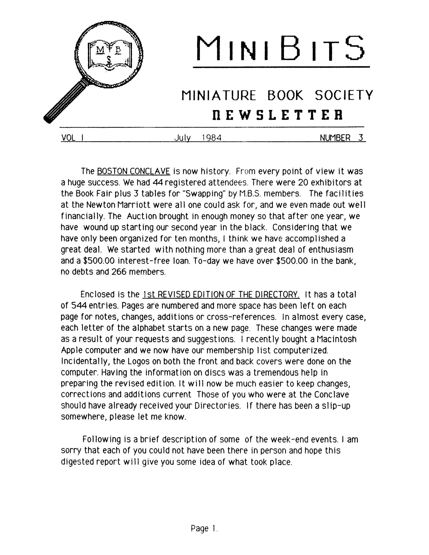 Miniature Book Society Newsletter 1984 July                                                                                                      1