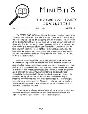 Primary view of object titled 'Miniature Book Society Newsletter 1984 July'.