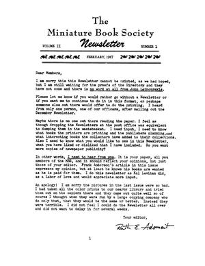Miniature Book Society Newsletter 1987 February