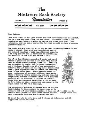 Primary view of object titled 'Miniature Book Society Newsletter 1987 May'.
