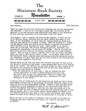 Primary view of object titled 'Miniature Book Society Newsletter 1987 August'.