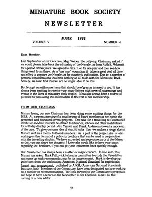 Primary view of object titled 'Miniature Book Society Newsletter 1988 June'.