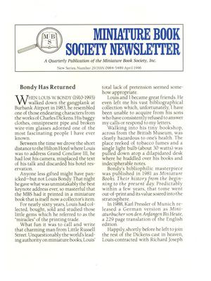 Miniature Book Society Newsletter 1996 April