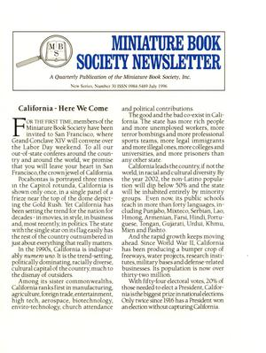 Primary view of object titled 'Miniature Book Society Newsletter 1996 July'.