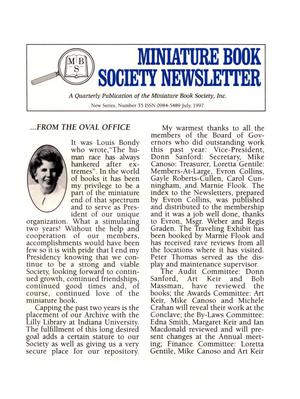 Primary view of object titled 'Miniature Book Society Newsletter 1997 July'.