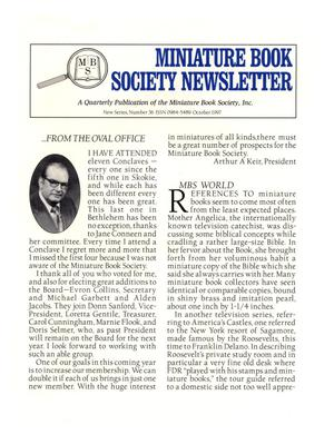 Primary view of object titled 'Miniature Book Society Newsletter 1997 October'.