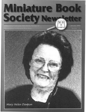 Primary view of object titled 'Miniature Book Society Newsletter 2003 January'.