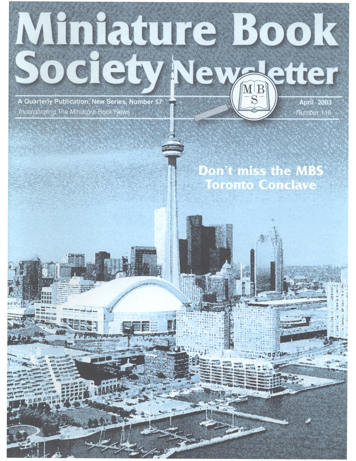Miniature Book Society Newsletter 2003 April                                                                                                      Front Cover