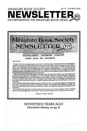 Primary view of object titled 'Miniature Book Society Newsletter 2006 October'.