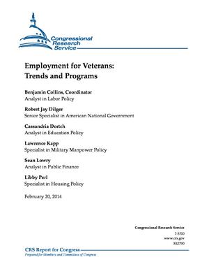 Employment for Veterans: Trends and Programs
