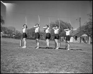 Primary view of object titled '[Women Practicing Archery]'.