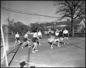 Primary view of object titled '[Photograph of Women Playing Volleyball]'.