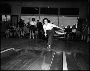 Primary view of object titled '[Female Student Bowling]'.