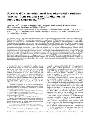 Primary view of object titled 'Functional Characterization of Proanthocyanidin Pathway Enzymes from Tea and Their Application for Metabolic Engineering'.