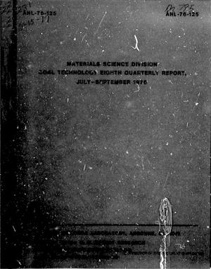 Primary view of object titled 'Materials Science Division Coal Technology Quarterly Report: July-September 1976'.