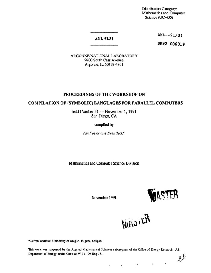 Proceedings Of The Workshop On Compilation Of Symbolic Languages