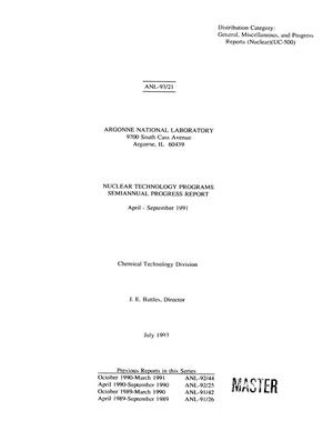 Primary view of object titled 'Nuclear Technology Programs Semiannual Progress Report: April-September 1991'.