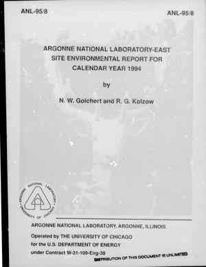 Primary view of object titled 'Argonne National Laboratory-East Site Environmental Report for Calendar Year 1994'.