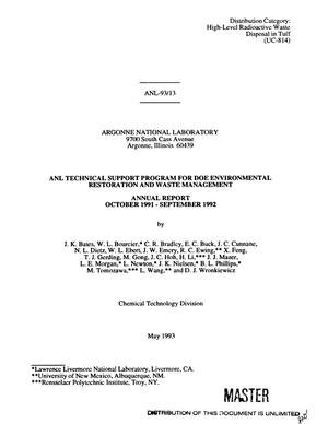 Primary view of object titled 'ANL Technical Support Program for DOE Environmental Restoration and Waste Management Annual Report for October 1991 - September 1992'.