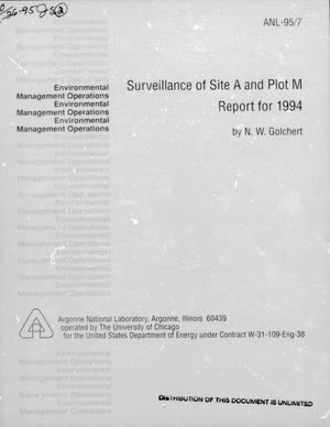 Primary view of object titled 'Surveillance of Site A and Plot M : Report for 1994'.