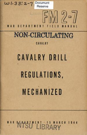 Primary view of object titled 'Cavalry drill regulations, mechanized.'.