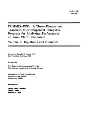 Primary view of object titled 'COMMIX-PPC: A Three-Dimensional Transient Multicomponent Computer Program for Analyzing Performance of Power Plant Condensers, Volume 1: Equations and Numerics'.