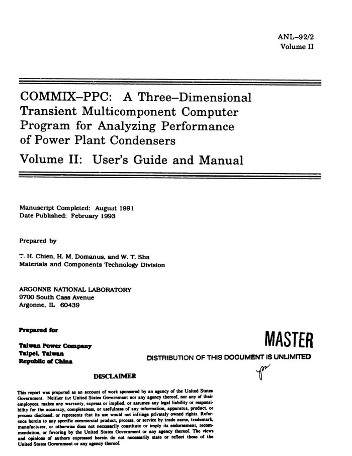 Primary View Of Object Titled COMMIX PPC A Three Dimensional Transient Multicomponent