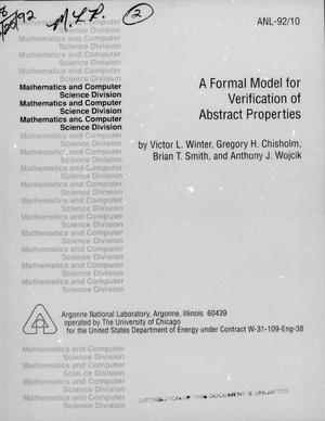 Primary view of object titled 'A Formal Model for Verification of Abstract Properties'.