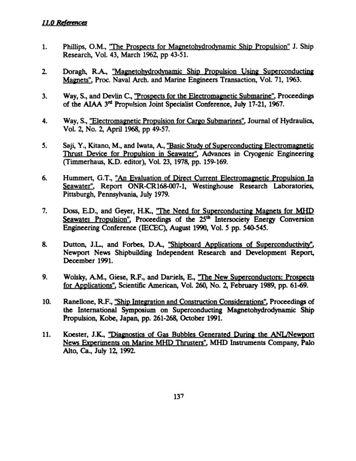 Feasibility of MHD Submarine Propulsion - Page 137 - Digital Library